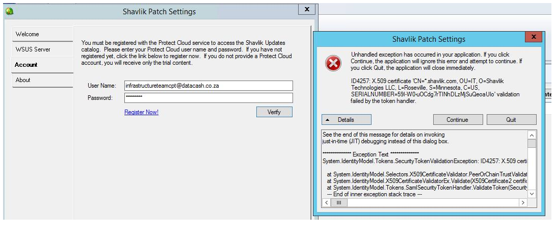 Unhandled Exception When Verifying Shavlik Patch Settings
