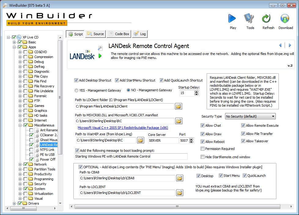WinBuilder script for bootable XP ISO with LANDesk Remote