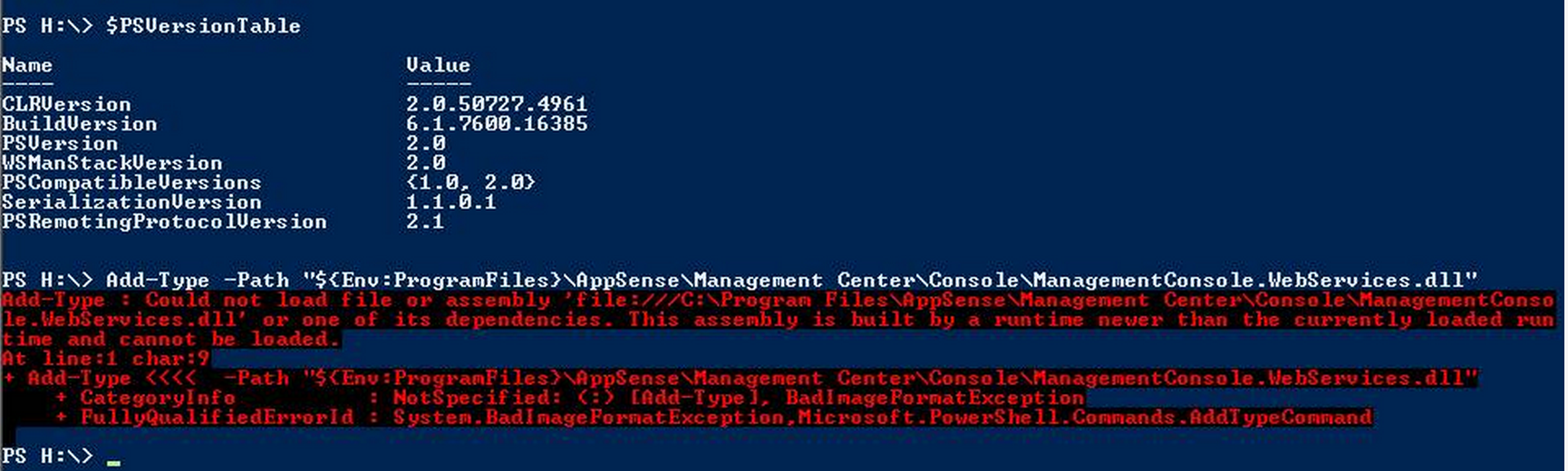 Runtime newer' error when attempting to load WebServices DLL
