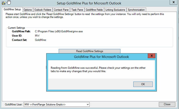 GoldMine Plus for Microsoft Outlook add-in: Blank GoldMine