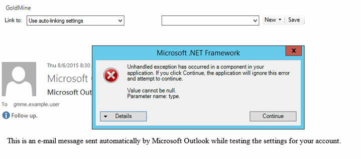 GoldMine Plus for Microsoft Outlook add-in error: Value