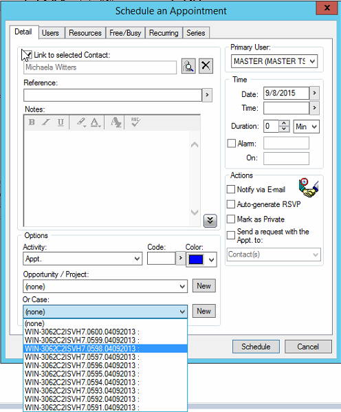The Drop-down list for linking e-mails or activities to a