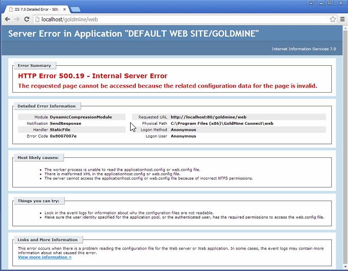 HTTP Error 500 19 - Internal Server Error - The requested