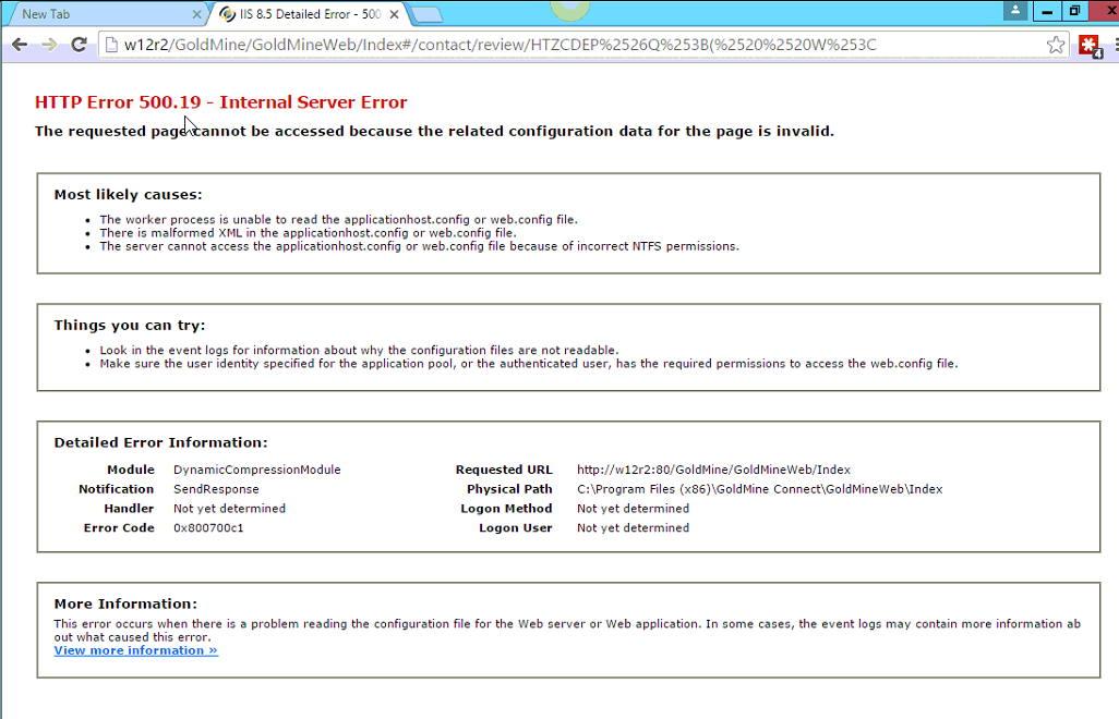 GoldMine Web (GMWEB) - HTTP Error 500 19 - Internal Server