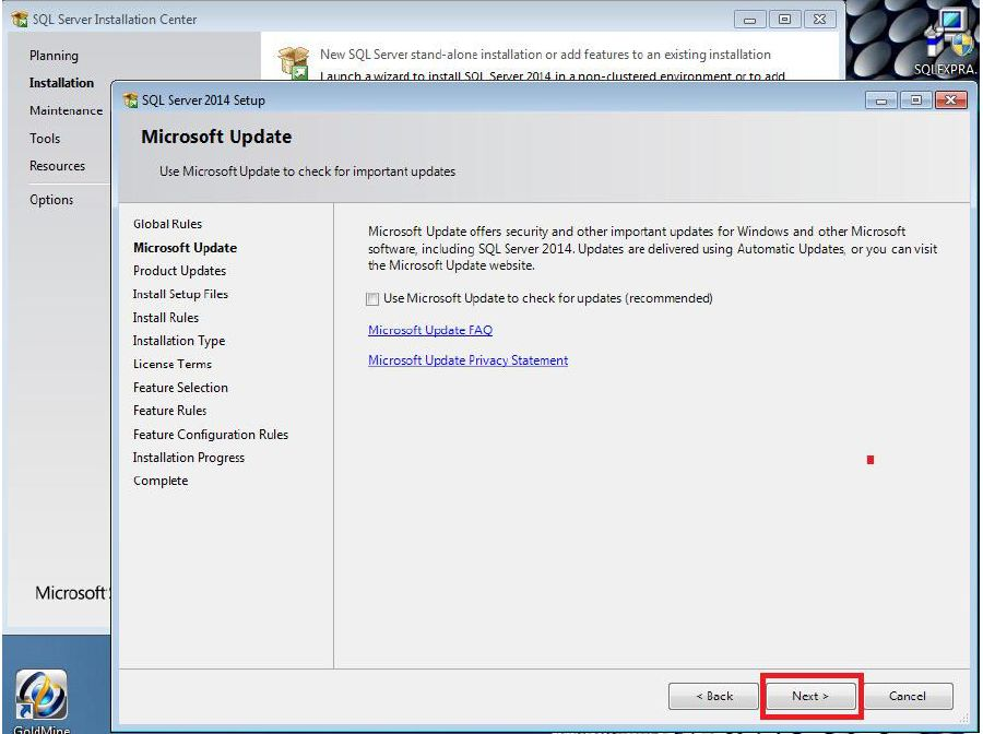 SQL Express 2014 was installed on a machine but not with advanced