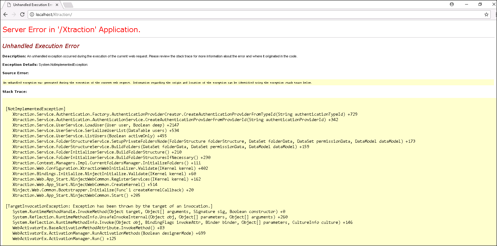 Error when logging to Xtraction