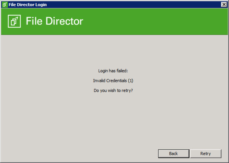 File Director Logon fails with