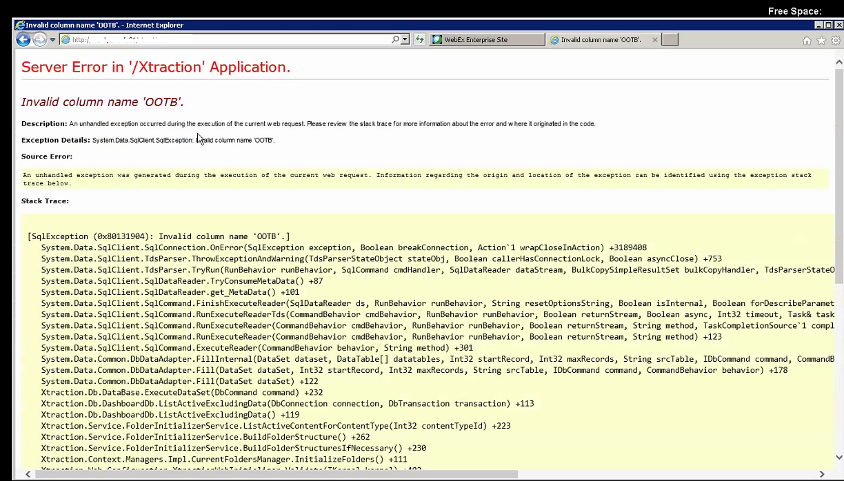 Error when loading Xtraction local host page: Invalid Column
