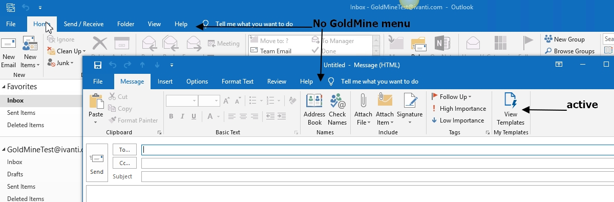 My Templates button in a Message Toolbar in Outlook