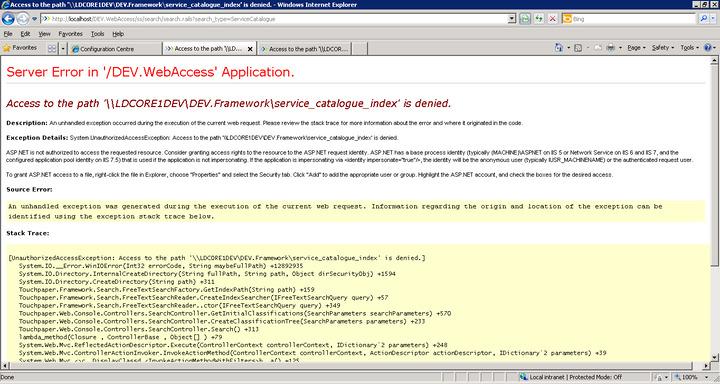 Access denied for Lucene folder