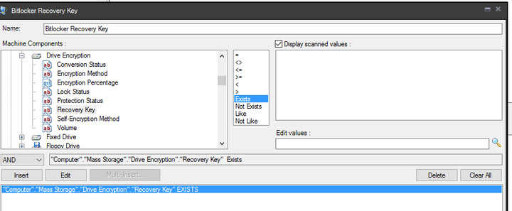 Bitlocker Recovery Key in Inventory