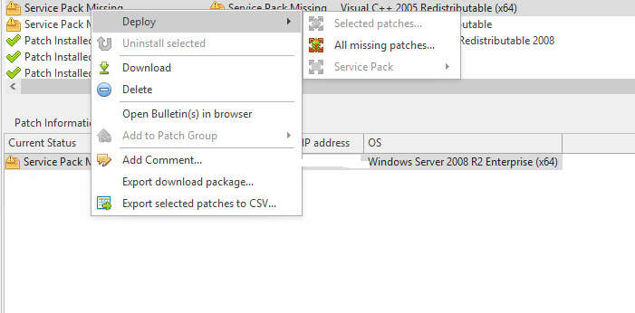 Ivanti patch for Windows 9 3 showing Service pack missing