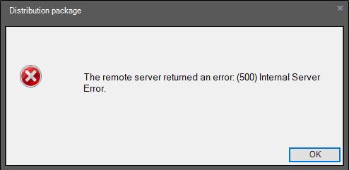 remote server returned an error (500) internal server error