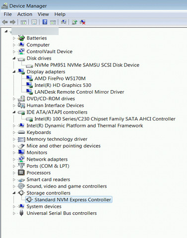 Windows 7 Image on a NVMe Solid State Drive