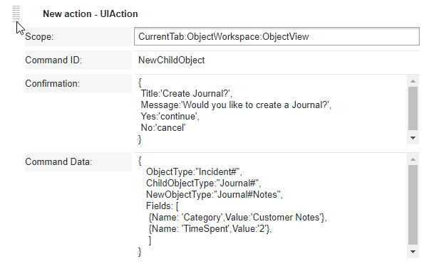 UI Action for Journal#Notes